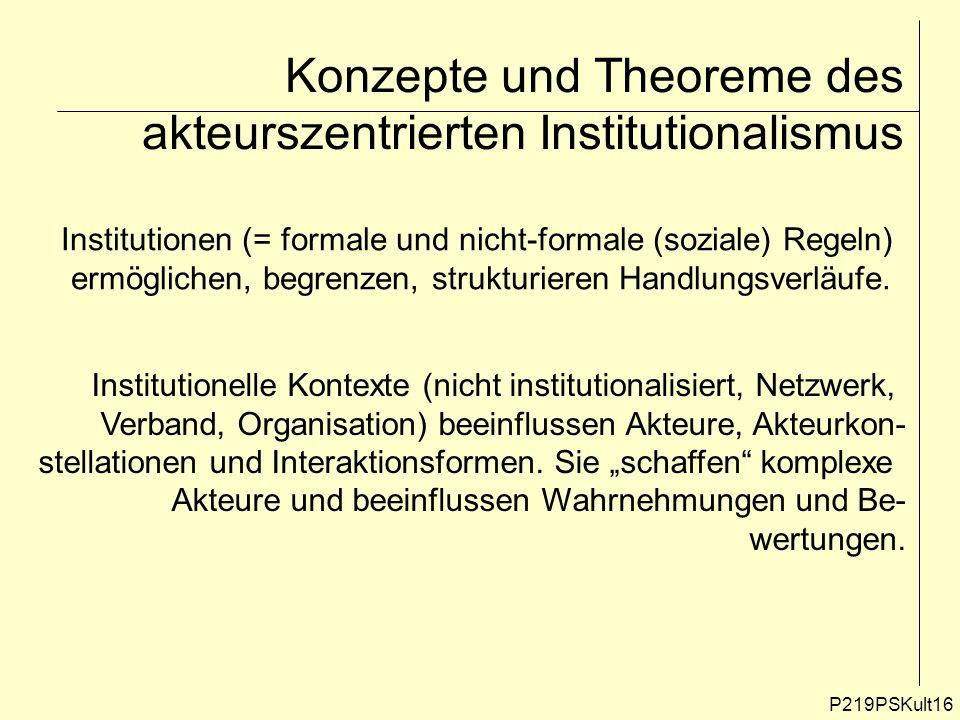 P219PSKult16 Konzepte und Theoreme des akteurszentrierten Institutionalismus Institutionen (= formale und nicht-formale (soziale) Regeln) ermöglichen,