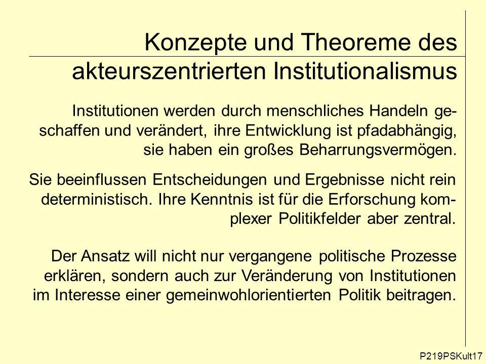 P219PSKult17 Konzepte und Theoreme des akteurszentrierten Institutionalismus Institutionen werden durch menschliches Handeln ge- schaffen und veränder