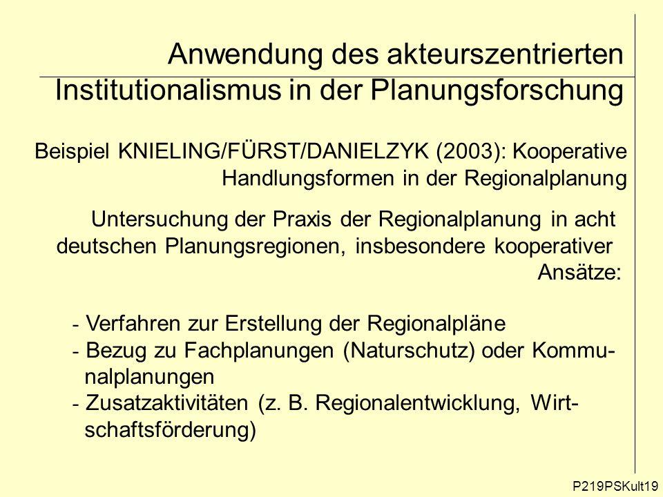 Anwendung des akteurszentrierten Institutionalismus in der Planungsforschung P219PSKult19 Beispiel KNIELING/FÜRST/DANIELZYK (2003): Kooperative Handlu