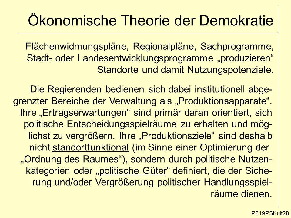 P219PSKult28 Ökonomische Theorie der Demokratie Flächenwidmungspläne, Regionalpläne, Sachprogramme, Stadt- oder Landesentwicklungsprogramme produziere