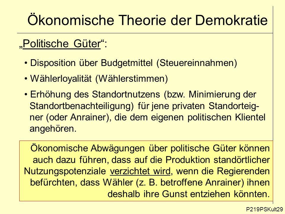 P219PSKult29 Ökonomische Theorie der Demokratie Politische Güter: Disposition über Budgetmittel (Steuereinnahmen) Wählerloyalität (Wählerstimmen) Erhö