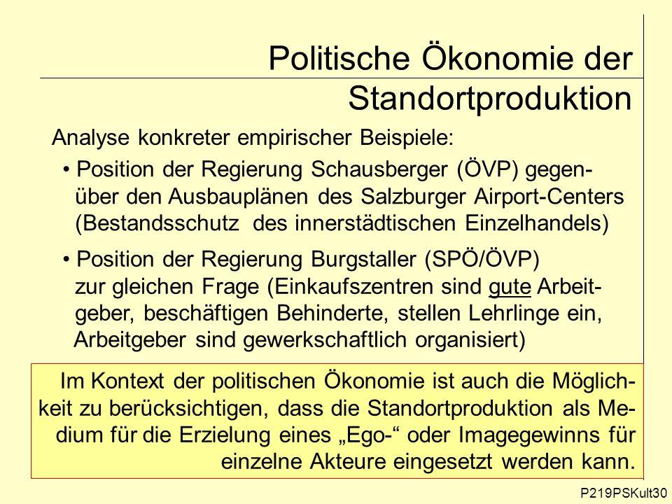 P219PSKult30 Politische Ökonomie der Standortproduktion Analyse konkreter empirischer Beispiele: Position der Regierung Schausberger (ÖVP) gegen- über
