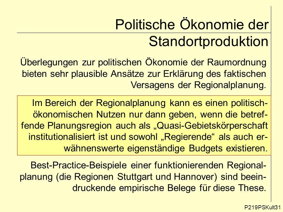 P219PSKult31 Politische Ökonomie der Standortproduktion Überlegungen zur politischen Ökonomie der Raumordnung bieten sehr plausible Ansätze zur Erklär