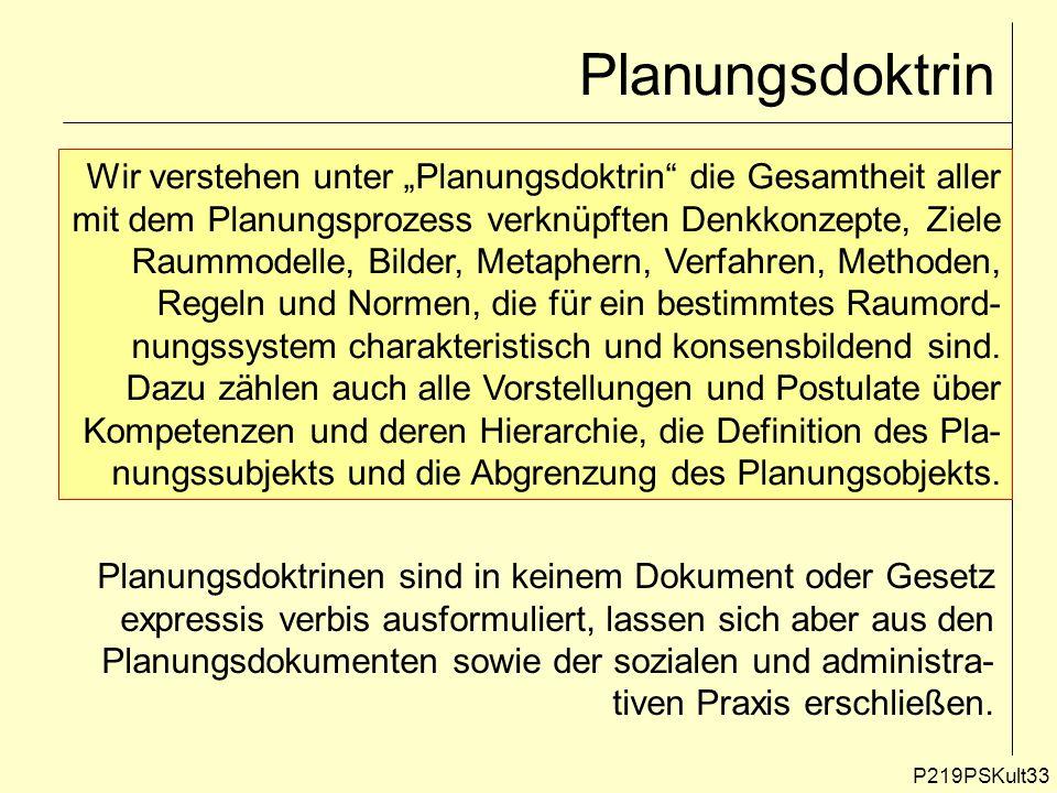 Planungsdoktrin P219PSKult33 Wir verstehen unter Planungsdoktrin die Gesamtheit aller mit dem Planungsprozess verknüpften Denkkonzepte, Ziele Raummode