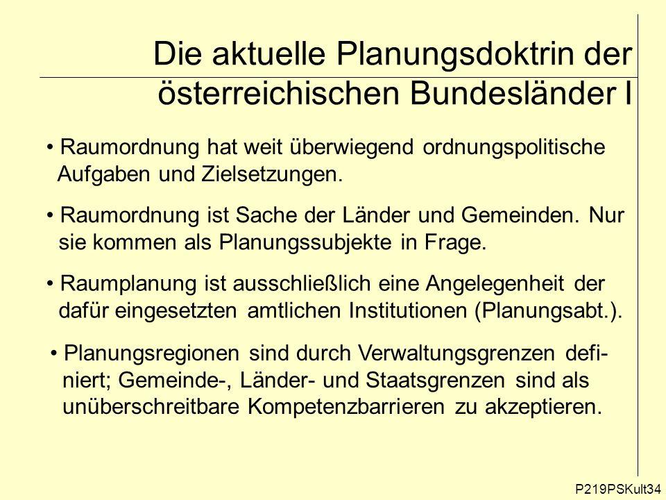 P219PSKult34 Die aktuelle Planungsdoktrin der österreichischen Bundesländer I Raumordnung hat weit überwiegend ordnungspolitische Aufgaben und Zielset