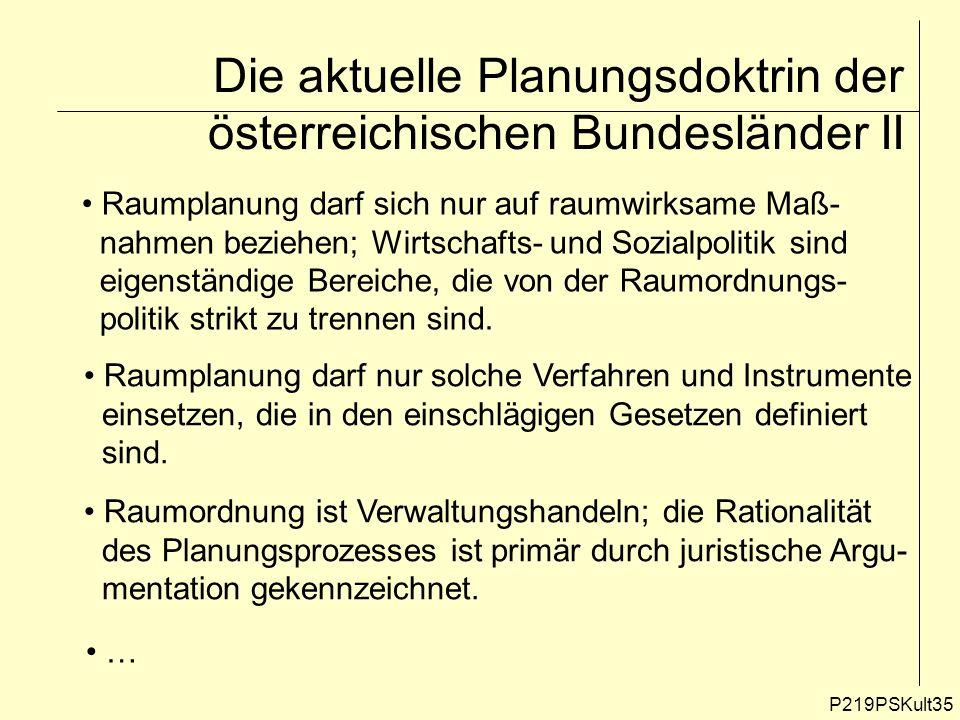 P219PSKult35 Die aktuelle Planungsdoktrin der österreichischen Bundesländer II Raumplanung darf sich nur auf raumwirksame Maß- nahmen beziehen; Wirtsc