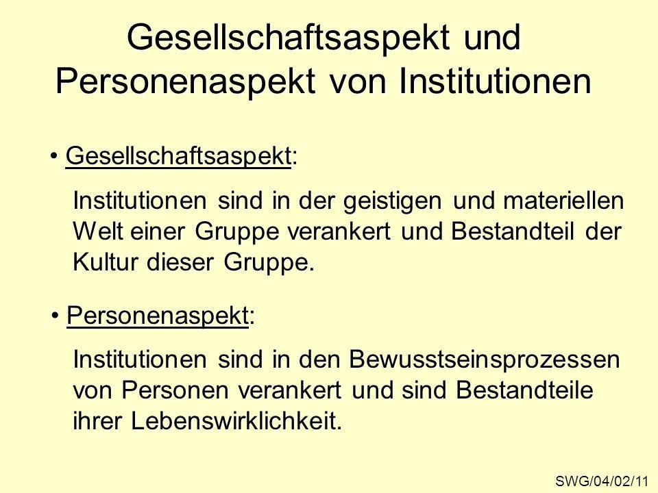 Gesellschaftsaspekt und Personenaspekt von Institutionen SWG/04/02/11 Gesellschaftsaspekt: Gesellschaftsaspekt: Personenaspekt: Personenaspekt: Instit