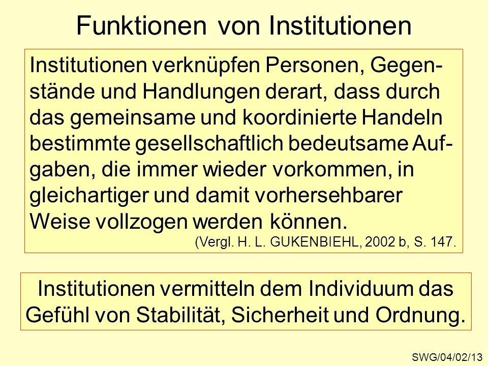 Funktionen von Institutionen SWG/04/02/13 Institutionen verknüpfen Personen, Gegen- stände und Handlungen derart, dass durch das gemeinsame und koordi