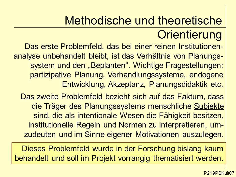 P219PSKult07 Methodische und theoretische Orientierung Das erste Problemfeld, das bei einer reinen Institutionen- analyse unbehandelt bleibt, ist das