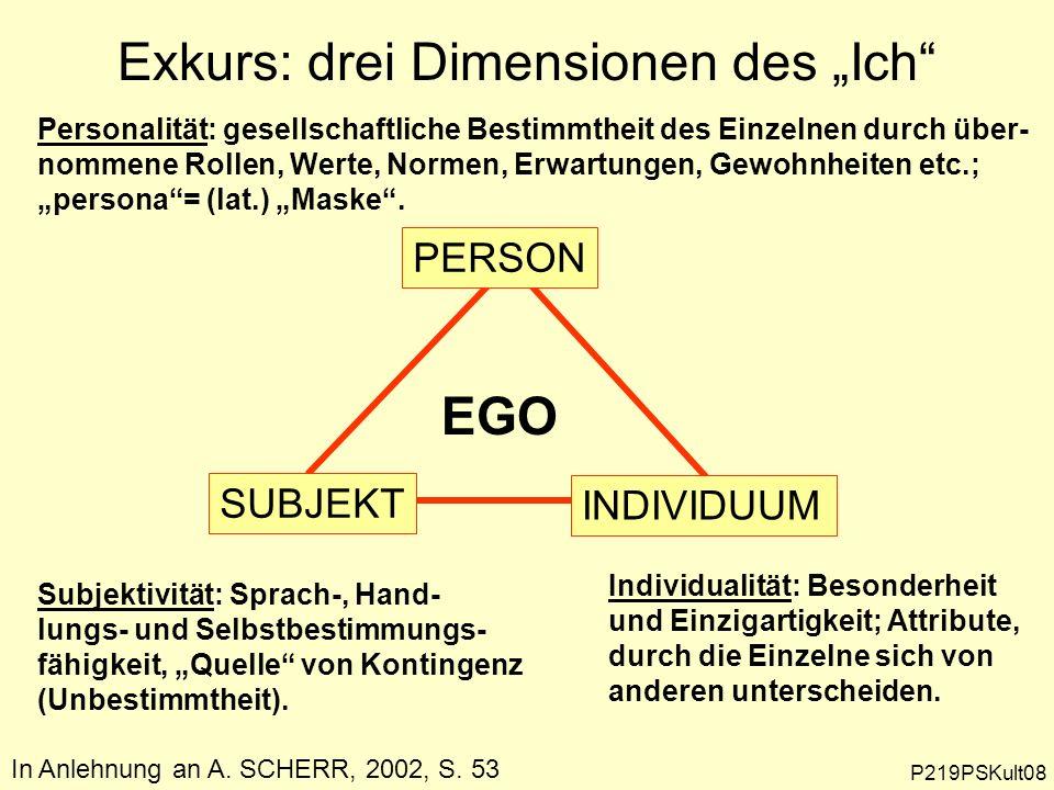 PERSON SUBJEKT INDIVIDUUM Personalität: gesellschaftliche Bestimmtheit des Einzelnen durch über- nommene Rollen, Werte, Normen, Erwartungen, Gewohnhei