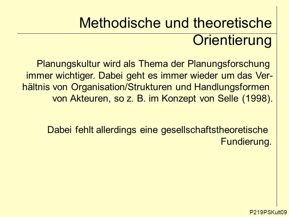 P219PSKult09 Methodische und theoretische Orientierung Planungskultur wird als Thema der Planungsforschung immer wichtiger. Dabei geht es immer wieder