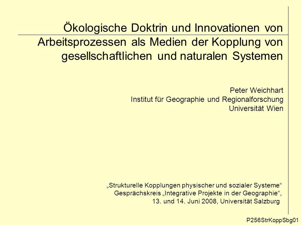 Ökologische Doktrin und Innovationen von Arbeitsprozessen als Medien der Kopplung von gesellschaftlichen und naturalen Systemen P256StrKoppSbg01 Peter