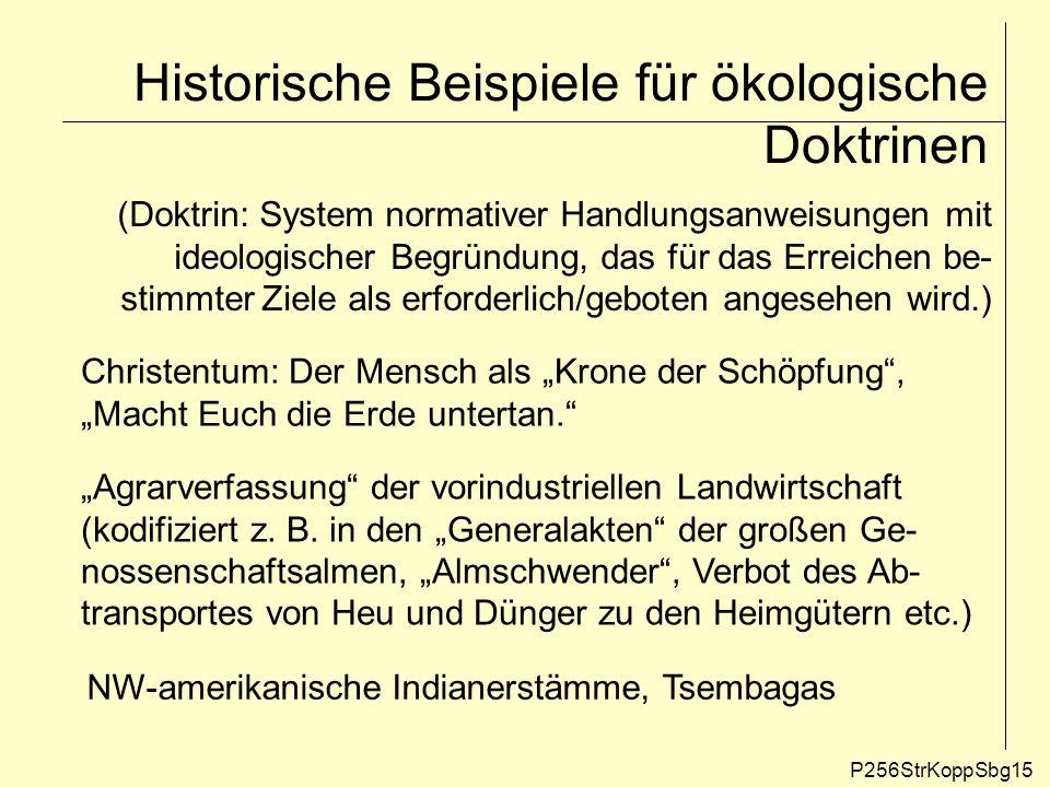 Historische Beispiele für ökologische Doktrinen P256StrKoppSbg15 (Doktrin: System normativer Handlungsanweisungen mit ideologischer Begründung, das fü
