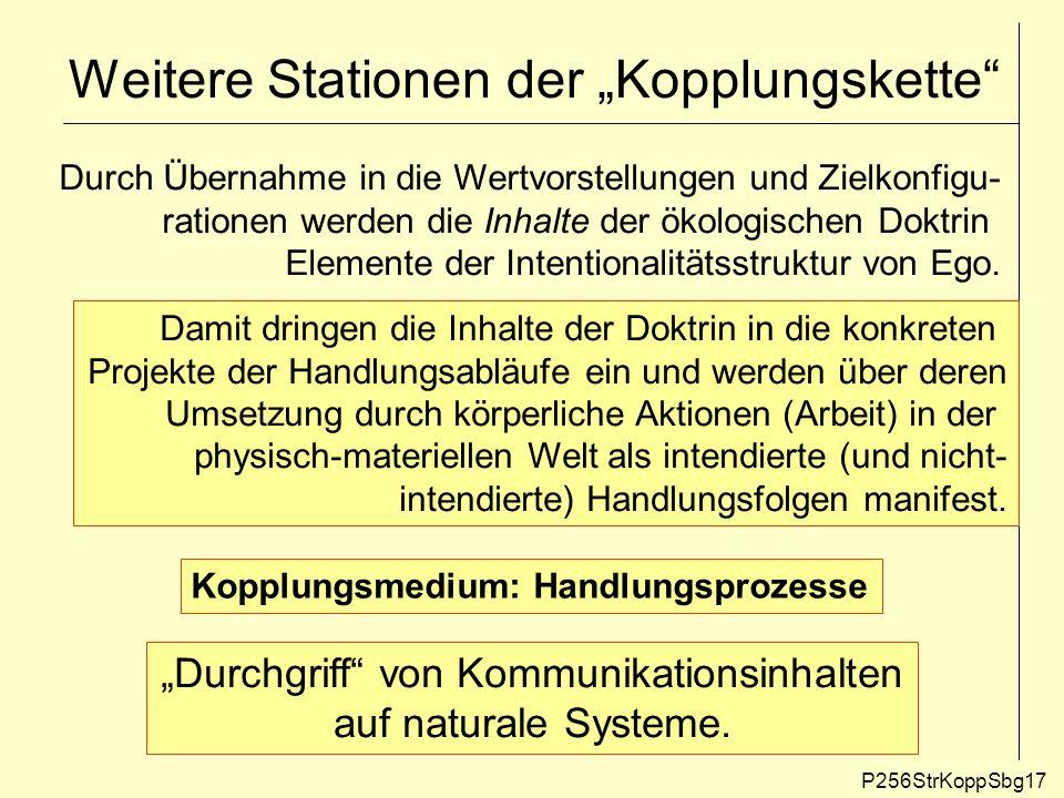 Weitere Stationen der Kopplungskette P256StrKoppSbg17 Durch Übernahme in die Wertvorstellungen und Zielkonfigu- rationen werden die Inhalte der ökolog