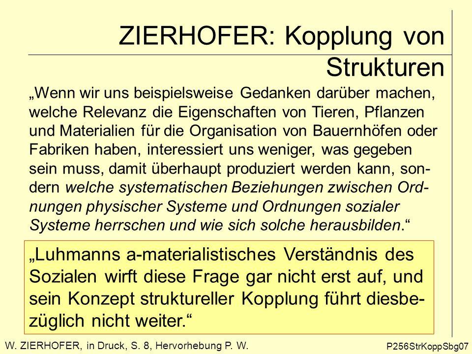 ZIERHOFER: Kopplung von Strukturen P256StrKoppSbg08 Deshalb schlägt ZIERHOFER vor, zu einem allgemeineren Strukturbegriff zurückzukehren, nämlich zu Struktur im Sinne von Ordnungen der physischen, mentalen oder sozialen Welt.