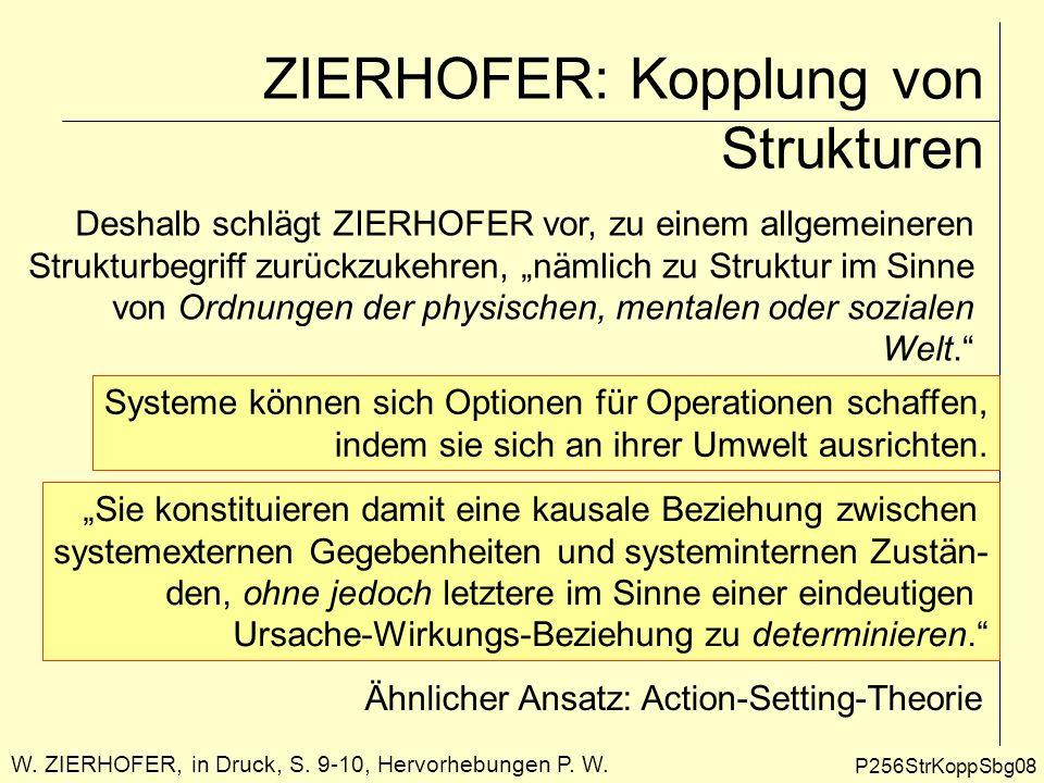 ZIERHOFER: Kopplung von Strukturen P256StrKoppSbg08 Deshalb schlägt ZIERHOFER vor, zu einem allgemeineren Strukturbegriff zurückzukehren, nämlich zu S