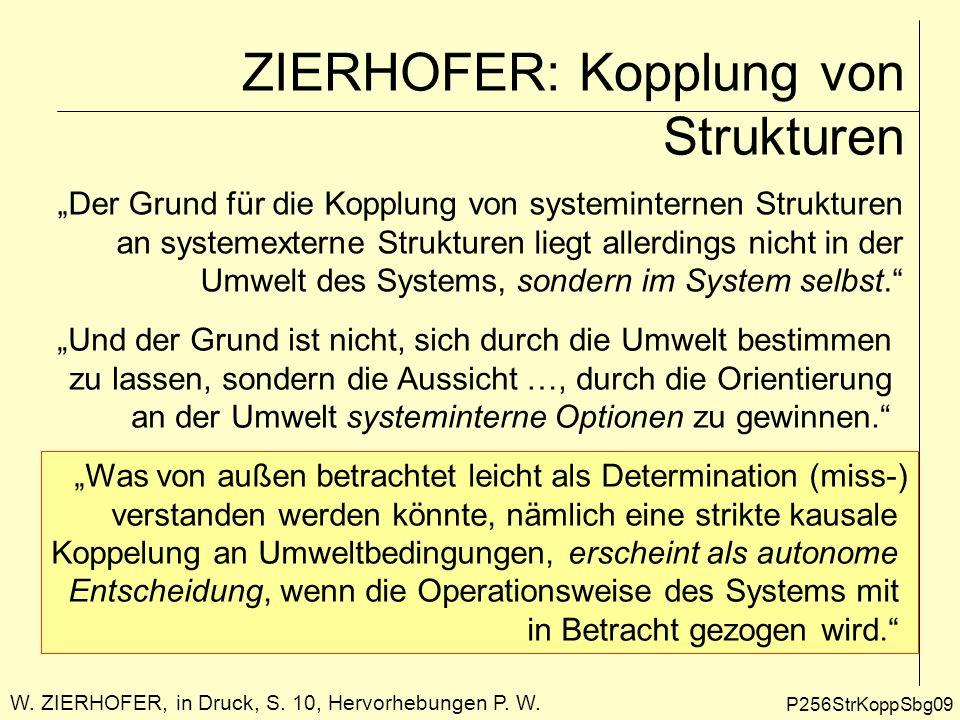 P256StrKoppSbg09 ZIERHOFER: Kopplung von Strukturen W. ZIERHOFER, in Druck, S. 10, Hervorhebungen P. W. Der Grund für die Kopplung von systeminternen