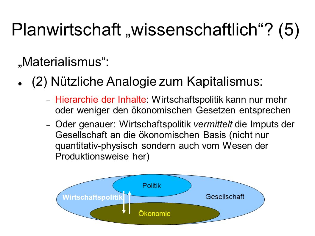 Planwirtschaft wissenschaftlich? (5) Materialismus: (2) Nützliche Analogie zum Kapitalismus: Hierarchie der Inhalte: Wirtschaftspolitik kann nur mehr