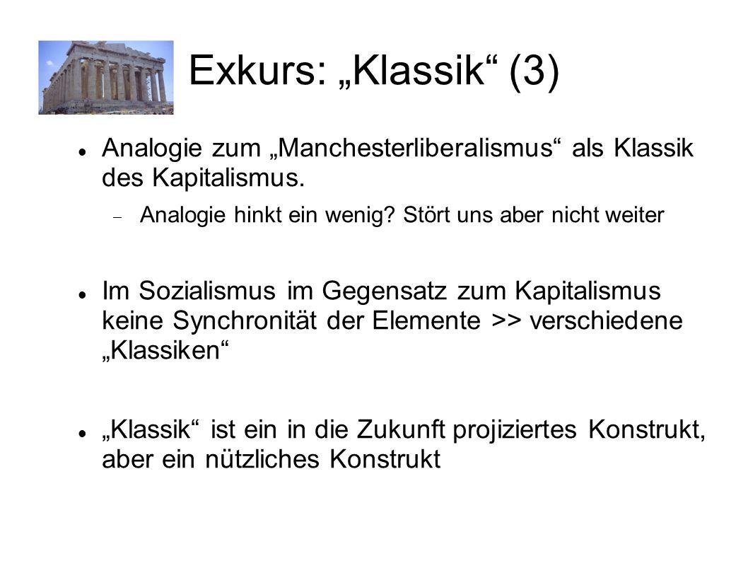 Exkurs: Klassik (3) Analogie zum Manchesterliberalismus als Klassik des Kapitalismus. Analogie hinkt ein wenig? Stört uns aber nicht weiter Im Soziali