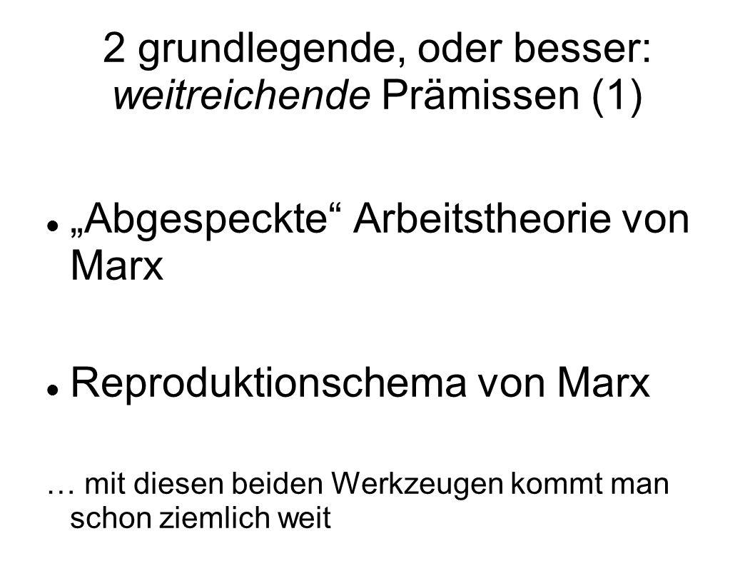 2 grundlegende, oder besser: weitreichende Prämissen (1) Abgespeckte Arbeitstheorie von Marx Reproduktionschema von Marx … mit diesen beiden Werkzeuge