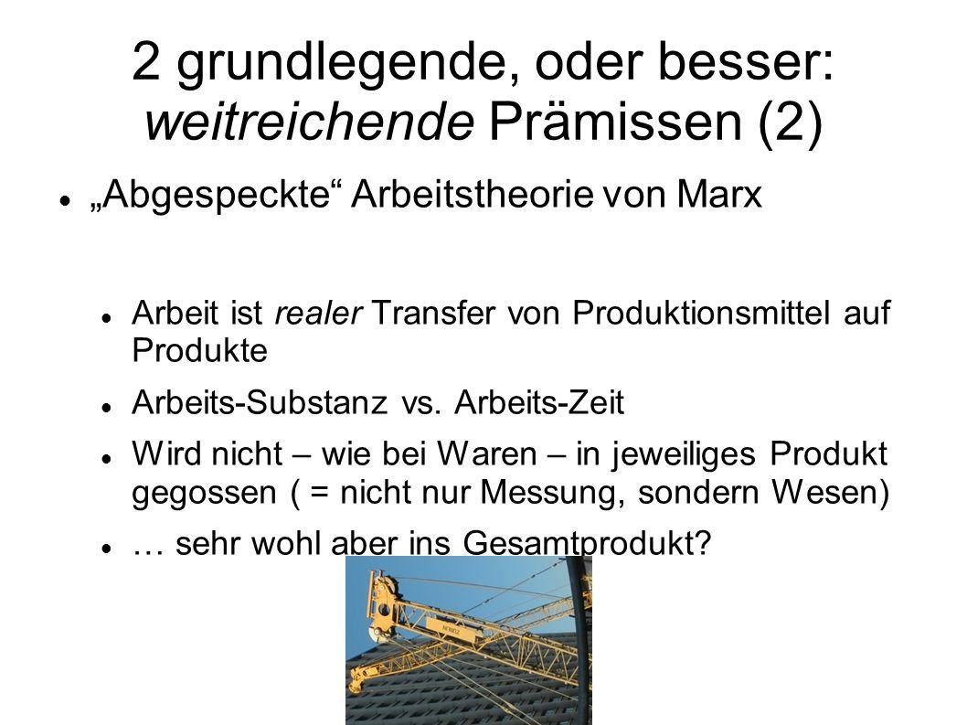 2 grundlegende, oder besser: weitreichende Prämissen (2) Abgespeckte Arbeitstheorie von Marx Arbeit ist realer Transfer von Produktionsmittel auf Prod