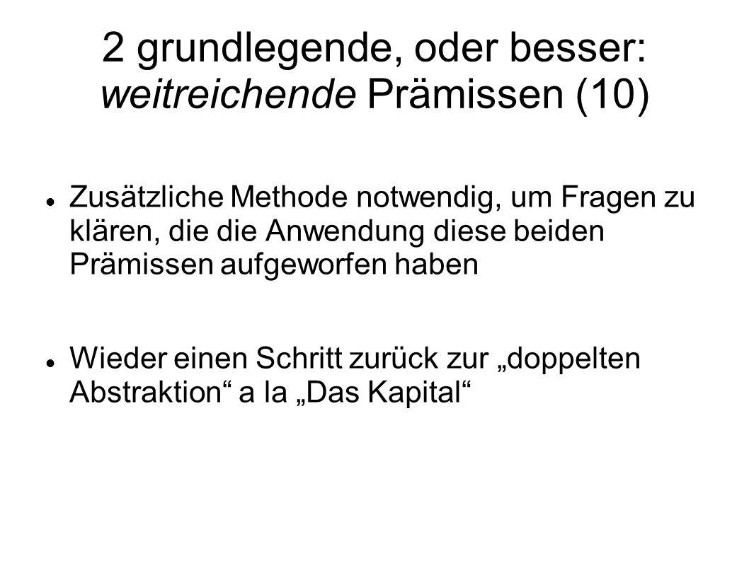 2 grundlegende, oder besser: weitreichende Prämissen (10) Zusätzliche Methode notwendig, um Fragen zu klären, die die Anwendung diese beiden Prämissen