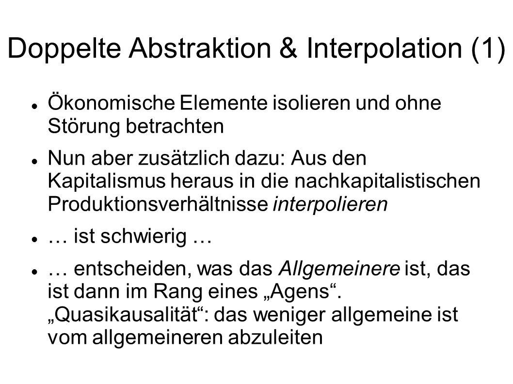 Doppelte Abstraktion & Interpolation (1) Ökonomische Elemente isolieren und ohne Störung betrachten Nun aber zusätzlich dazu: Aus den Kapitalismus her