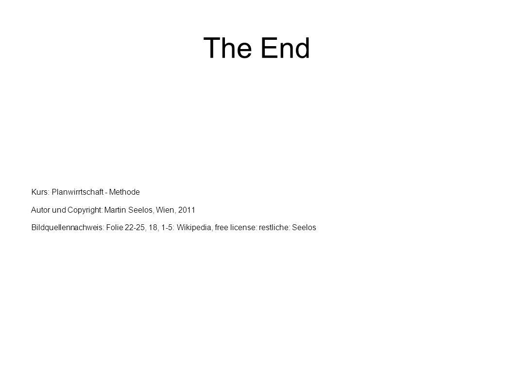 The End Kurs: Planwirrtschaft - Methode Autor und Copyright: Martin Seelos, Wien, 2011 Bildquellennachweis: Folie 22-25, 18, 1-5: Wikipedia, free lice