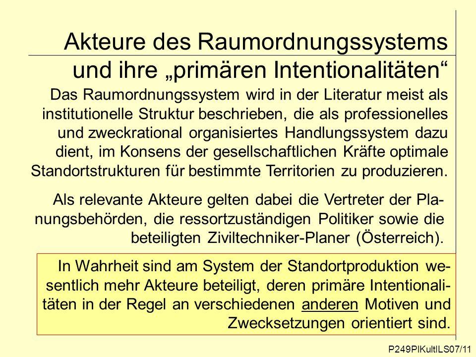P249PlKultILS07/11 Akteure des Raumordnungssystems und ihre primären Intentionalitäten Das Raumordnungssystem wird in der Literatur meist als institut