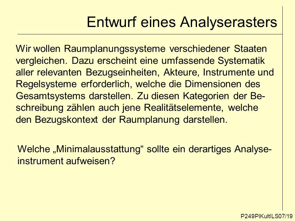 P249PlKultILS07/19 Entwurf eines Analyserasters Wir wollen Raumplanungssysteme verschiedener Staaten vergleichen. Dazu erscheint eine umfassende Syste