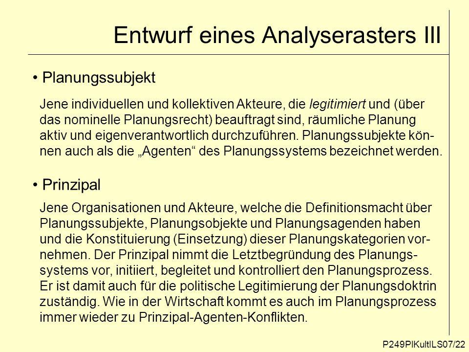 P249PlKultILS07/22 Entwurf eines Analyserasters III Planungssubjekt Jene individuellen und kollektiven Akteure, die legitimiert und (über das nominell