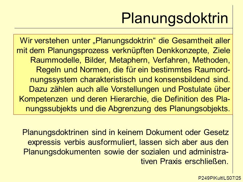P249PlKultILS07/25 Planungsdoktrin Wir verstehen unter Planungsdoktrin die Gesamtheit aller mit dem Planungsprozess verknüpften Denkkonzepte, Ziele Ra