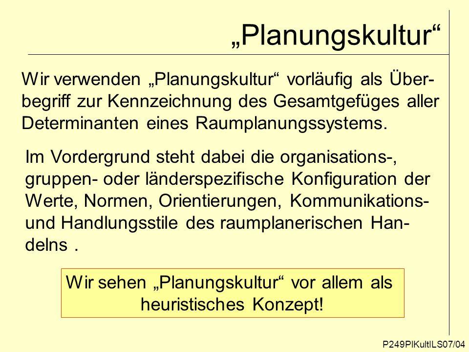 P249PlKultILS07/25 Planungsdoktrin Wir verstehen unter Planungsdoktrin die Gesamtheit aller mit dem Planungsprozess verknüpften Denkkonzepte, Ziele Raummodelle, Bilder, Metaphern, Verfahren, Methoden, Regeln und Normen, die für ein bestimmtes Raumord- nungssystem charakteristisch und konsensbildend sind.