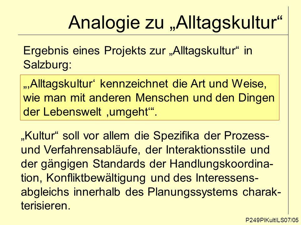 Analogie zu Alltagskultur P249PlKultILS07/05 Ergebnis eines Projekts zur Alltagskultur in Salzburg:,Alltagskultur kennzeichnet die Art und Weise, wie