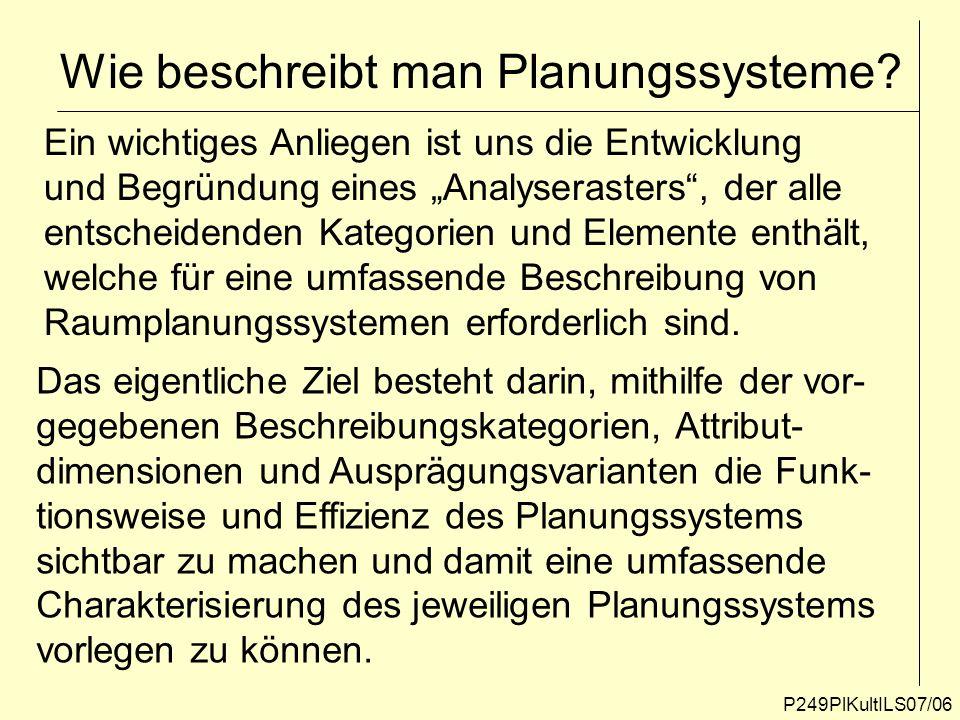 Wie beschreibt man Planungssysteme? P249PlKultILS07/06 Ein wichtiges Anliegen ist uns die Entwicklung und Begründung eines Analyserasters, der alle en