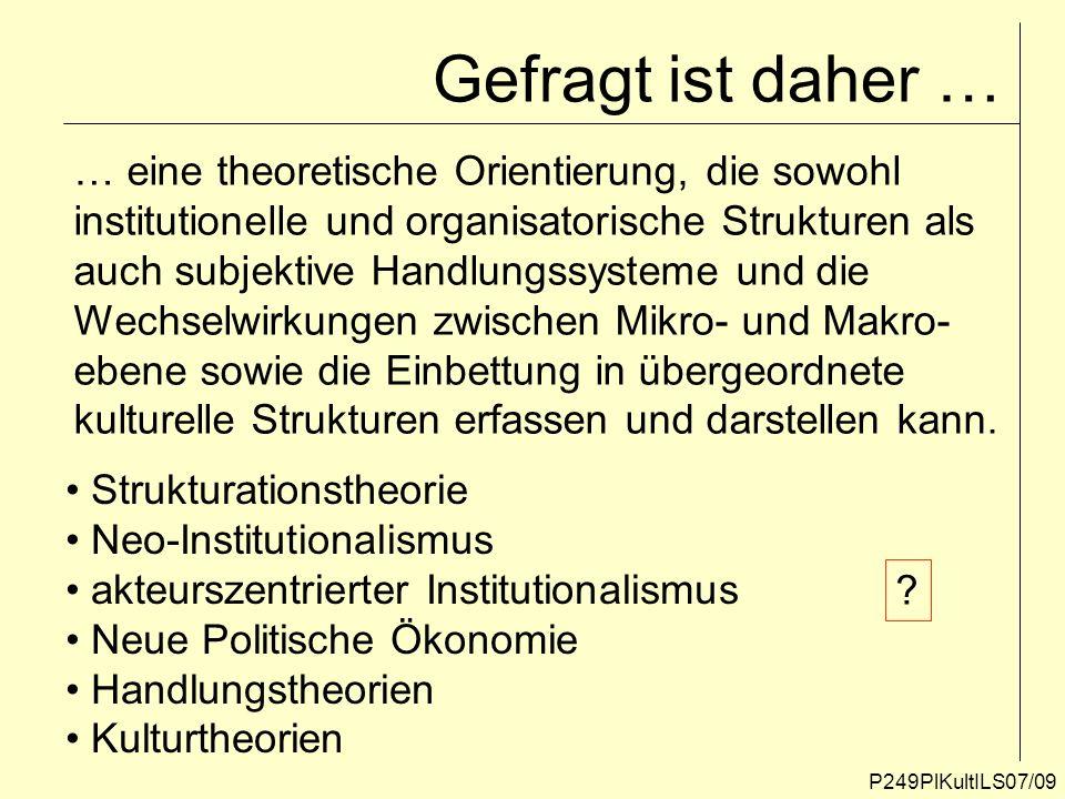 Gefragt ist daher … P249PlKultILS07/09 … eine theoretische Orientierung, die sowohl institutionelle und organisatorische Strukturen als auch subjektiv