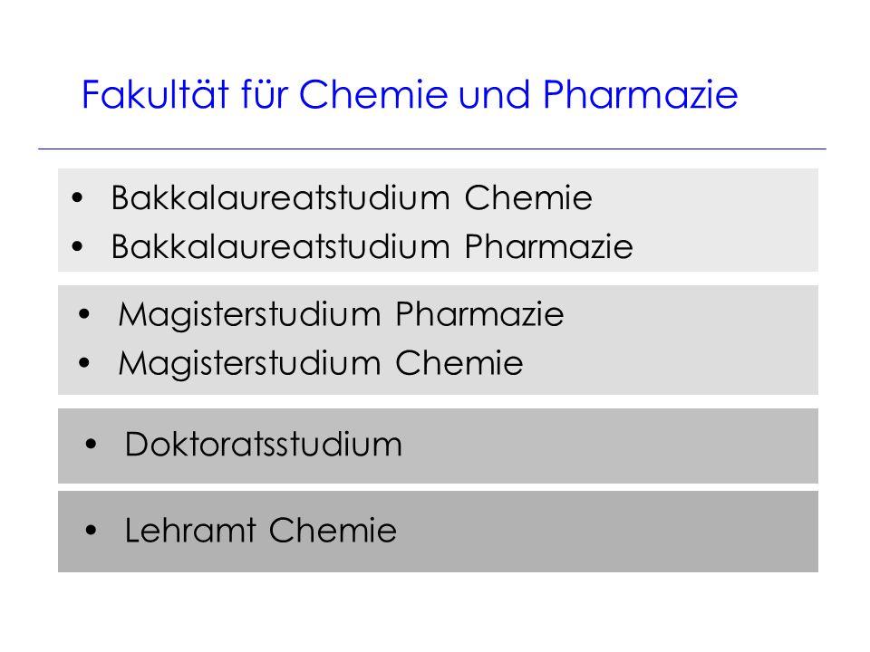 Bakkalaureatstudium Chemie Bakkalaureatstudium Pharmazie Fakultät für Chemie und Pharmazie Magisterstudium Pharmazie Magisterstudium Chemie Doktoratsstudium Lehramt Chemie