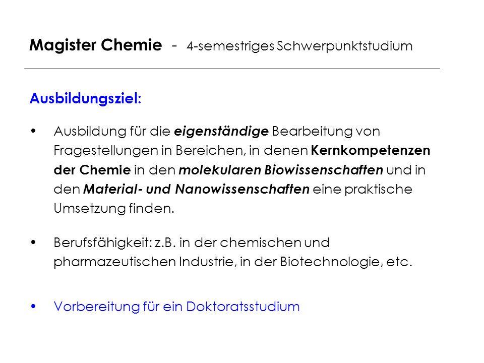 Magister Chemie - 4-semestriges Schwerpunktstudium Ausbildungsziel: Ausbildung für die eigenständige Bearbeitung von Fragestellungen in Bereichen, in denen Kernkompetenzen der Chemie in den molekularen Biowissenschaften und in den Material- und Nanowissenschaften eine praktische Umsetzung finden.