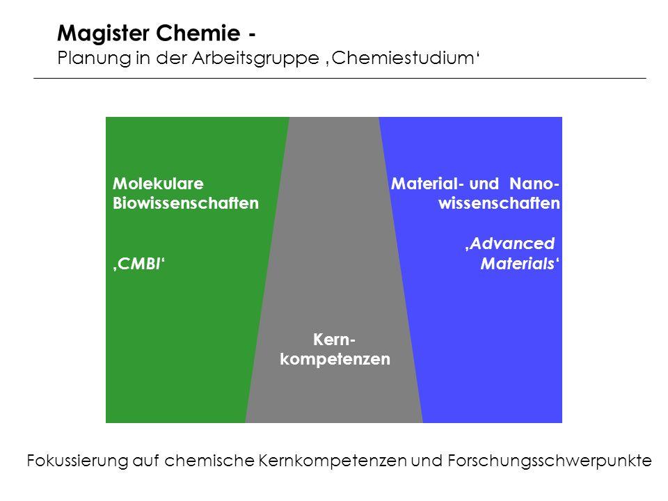 Kern- kompetenzen Molekulare Biowissenschaften CMBI Material- und Nano- wissenschaften Advanced Materials Fokussierung auf chemische Kernkompetenzen und Forschungsschwerpunkte Magister Chemie - Planung in der Arbeitsgruppe Chemiestudium