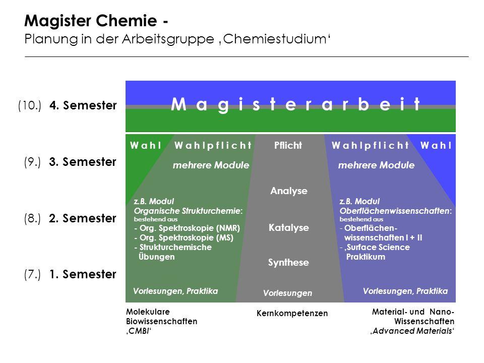 Kernkompetenzen Molekulare Biowissenschaften CMBI Material- und Nano- Wissenschaften Advanced Materials Pflicht M a g i s t e r a r b e i t mehrere Module W a h l p f l i c h t (7.) 1.