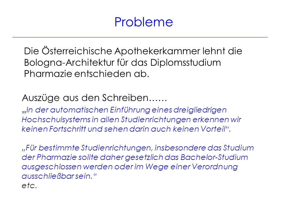 Probleme Die Österreichische Apothekerkammer lehnt die Bologna-Architektur für das Diplomsstudium Pharmazie entschieden ab.