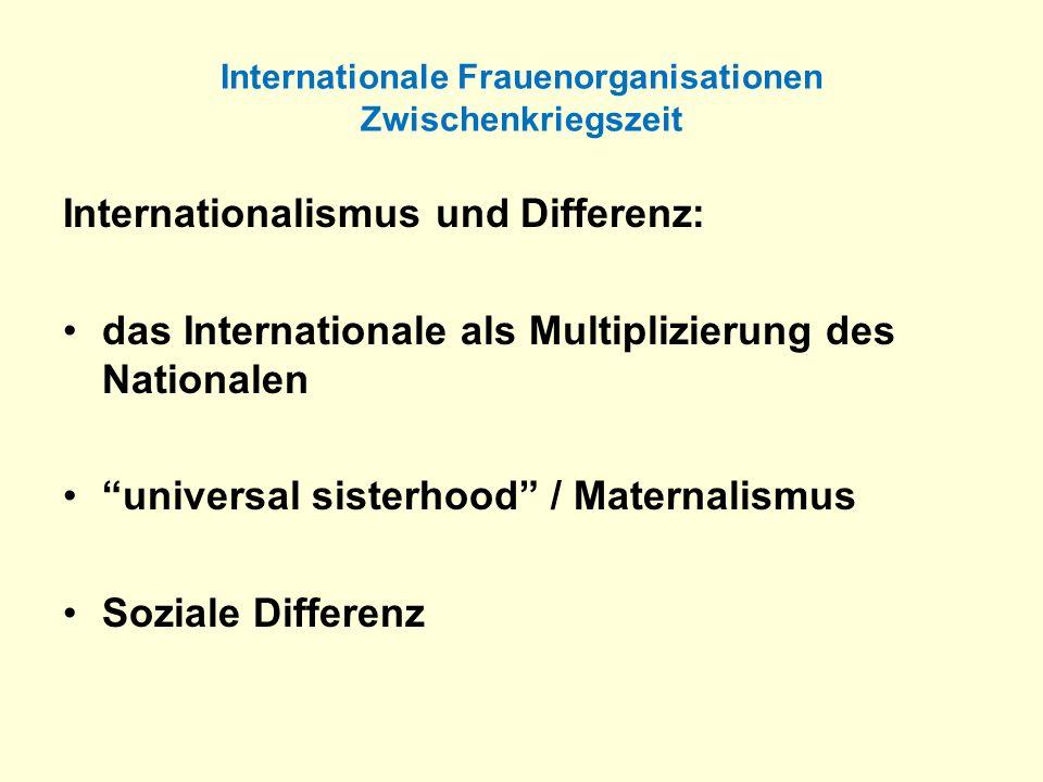 Internationale Frauenorganisationen Zwischenkriegszeit Internationalismus und Differenz: das Internationale als Multiplizierung des Nationalen univers