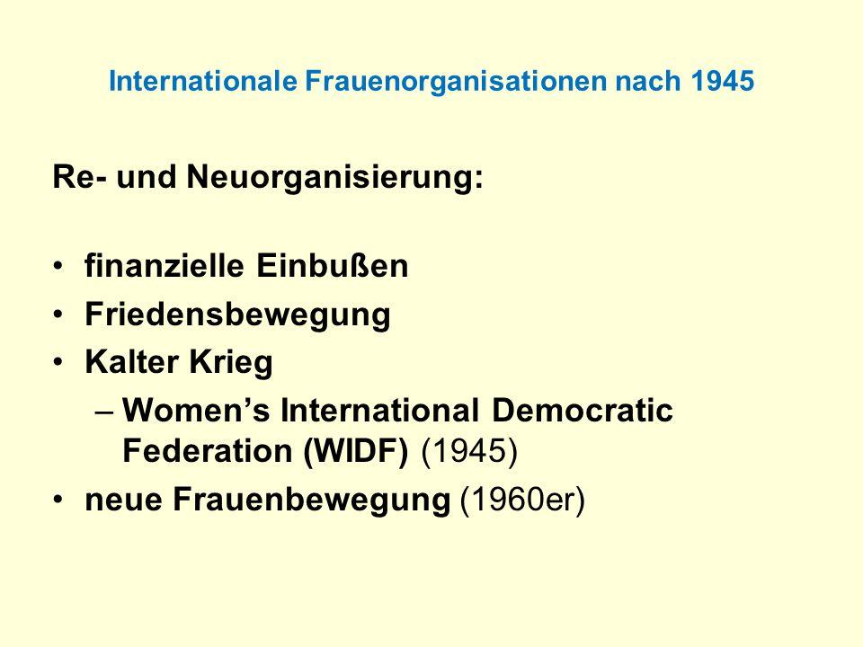 Internationale Frauenorganisationen nach 1945 Re- und Neuorganisierung: finanzielle Einbußen Friedensbewegung Kalter Krieg –Womens International Democ