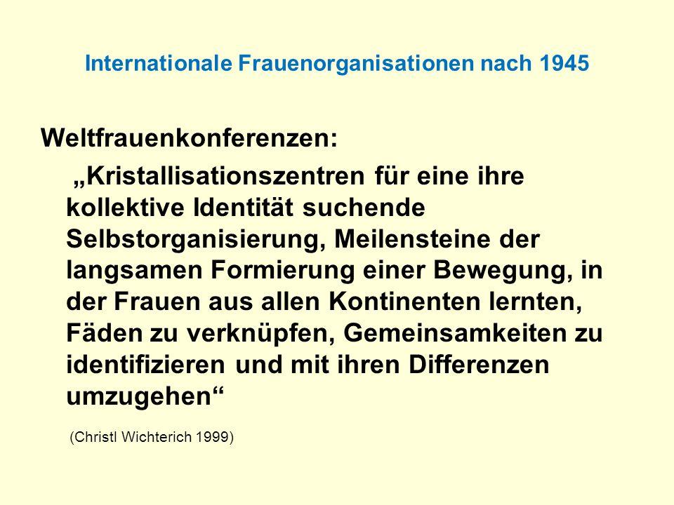 Internationale Frauenorganisationen nach 1945 Weltfrauenkonferenzen: Kristallisationszentren für eine ihre kollektive Identität suchende Selbstorganis