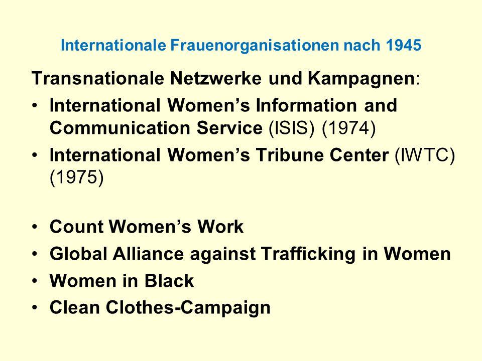 Internationale Frauenorganisationen nach 1945 Transnationale Netzwerke und Kampagnen: International Womens Information and Communication Service (ISIS