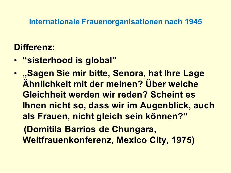 Internationale Frauenorganisationen nach 1945 Differenz: sisterhood is global Sagen Sie mir bitte, Senora, hat Ihre Lage Ähnlichkeit mit der meinen? Ü