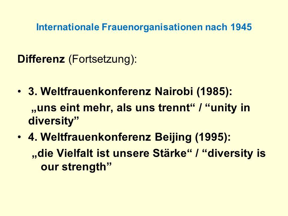 Internationale Frauenorganisationen nach 1945 Differenz (Fortsetzung): 3. Weltfrauenkonferenz Nairobi (1985): uns eint mehr, als uns trennt / unity in