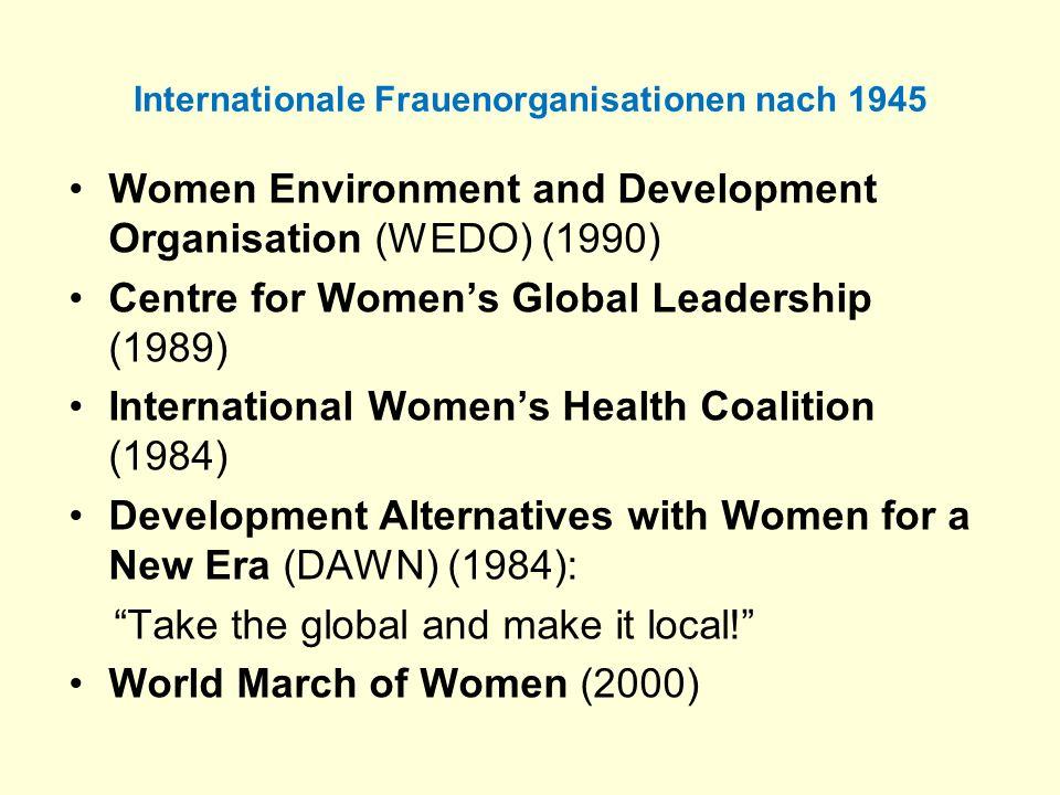 Internationale Frauenorganisationen nach 1945 Women Environment and Development Organisation (WEDO) (1990) Centre for Womens Global Leadership (1989)