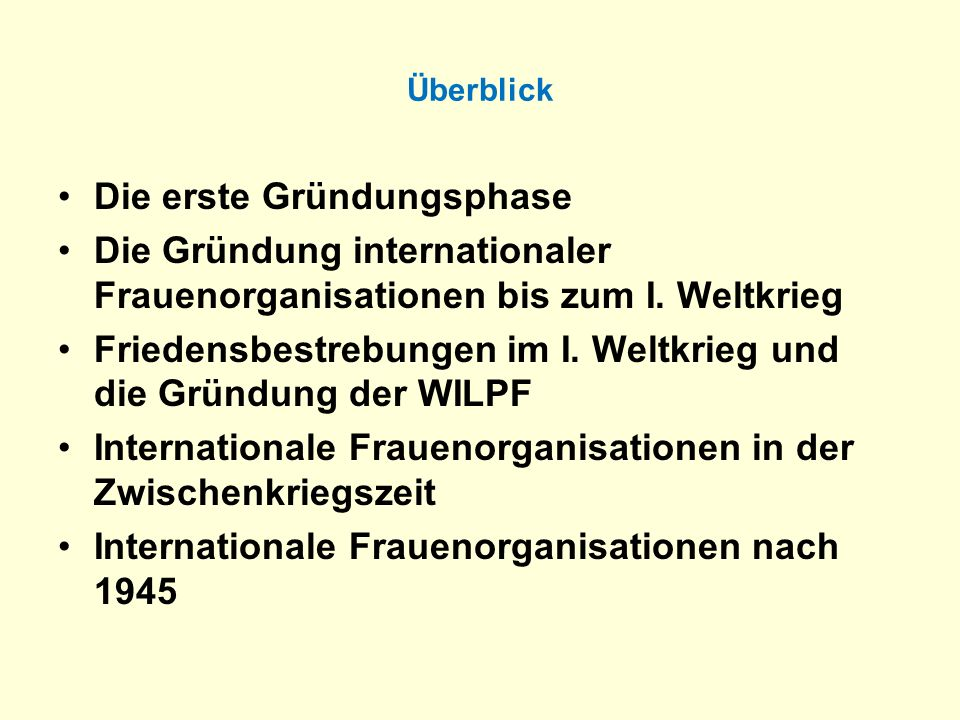 Internationale Frauenorganisationen nach 1945 Transnationale Netzwerke und Kampagnen: International Womens Information and Communication Service (ISIS) (1974) International Womens Tribune Center (IWTC) (1975) Count Womens Work Global Alliance against Trafficking in Women Women in Black Clean Clothes-Campaign