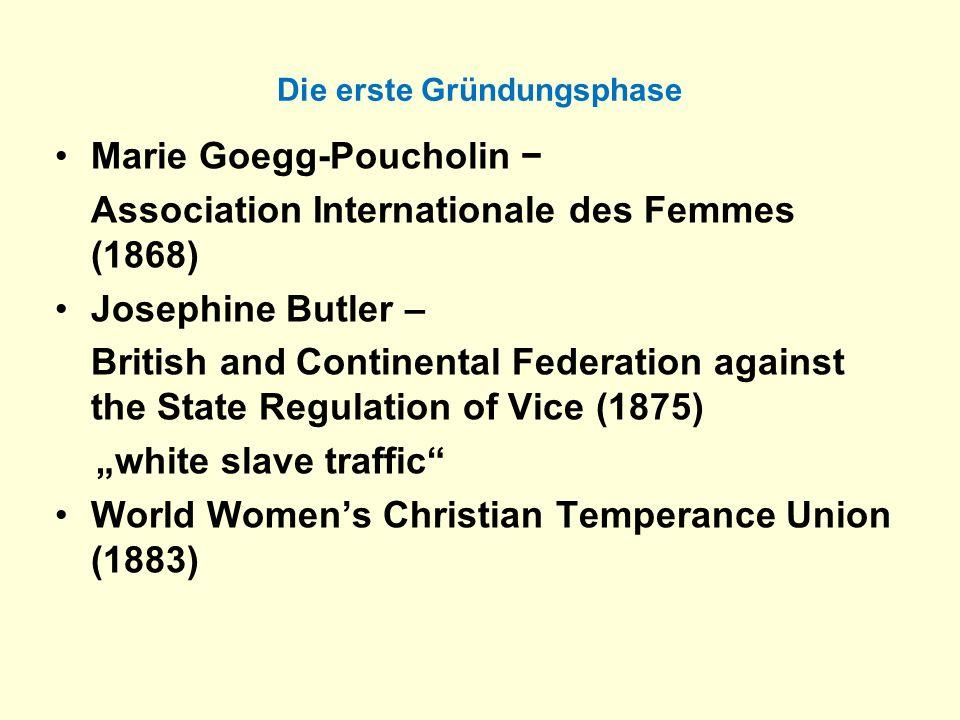 Die erste Gründungsphase Marie Goegg-Poucholin Association Internationale des Femmes (1868) Josephine Butler – British and Continental Federation agai